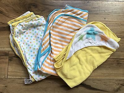 Gerber Lot Of 3 Infant Hooded Towels Unisex Yellow Orange Turquoise