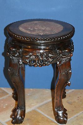 Antique 19th Century Chinese Carved Wood And Marble Stool/Plant Stand, c1880