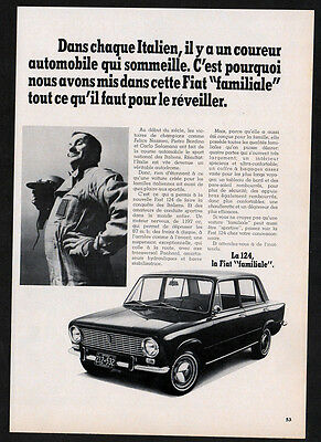 1967 FIAT 124 Vintage Original Print AD - Black 4-door car photo, racing driver