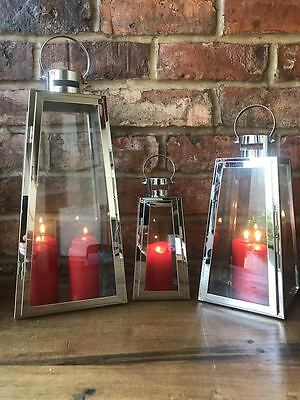 Silver Stainless Steel & Glass Pillar Candle Holders Hanging Hurricane Lanterns