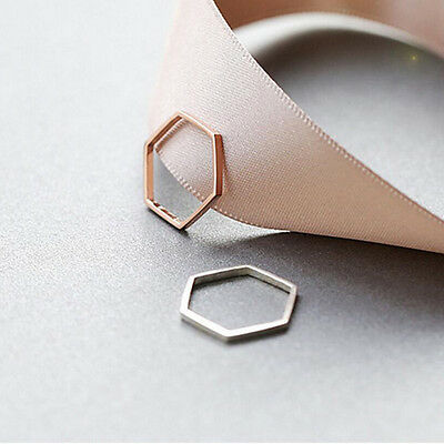 NEW Hexagon Silver Rose Gold Ring Band Wrap Rings Women Jewelry Vintage Fashion