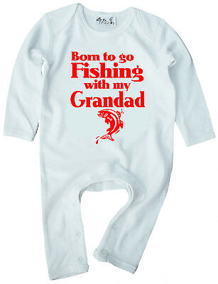 "Baby Fishing Clothes ""Born to go Fishing with My Grandad"" Boy Girl Romper Suit"