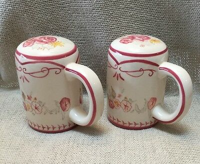 Waverly Garden Room Vintage Rose ceramic salt and pepper shakers with handles