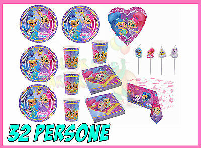 KIT SHIMMER and SHINE COMPLEANNO PARTY FESTA PIATTI PALLONE SET CANDELE 32 PERS.