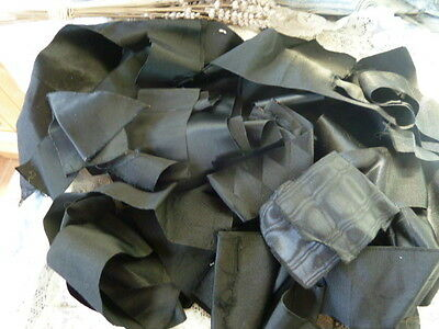 Mixed Batch Antique Black Silk Ribbons for a Craft or Sewing Project, circa 1880