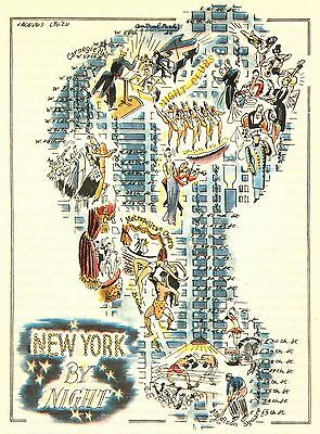 New York City by Night NYC Antique Vintage Pictorial Map  (Postcard size)