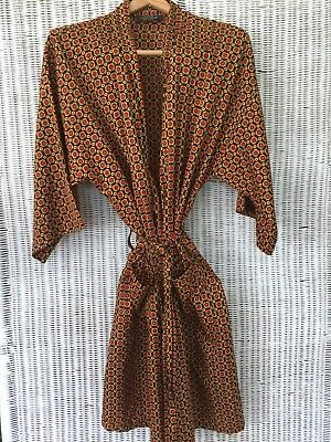 Mens Vintage JCPenney Towncraft Kimono Robe Navy Gold Orange Medallions One Size