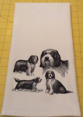 BEARDED COLLIE COLLAGE SKETCH Embroidered Kitchen Hand Towel 100% cotton