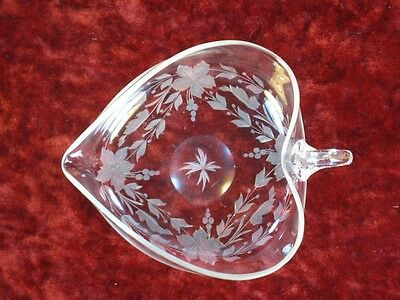 Antique Engraved Glass Hart BonBon Hand Blown