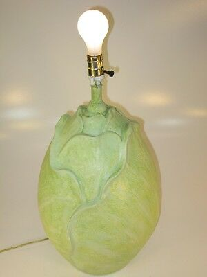 Vintage Green Cabbage Lamp, Original One Of a Kind!! Large!! Cast Paster