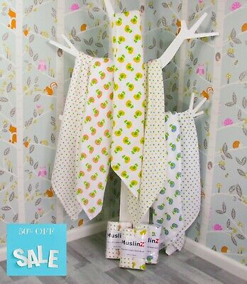 MuslinZ Large 100cm X 90cm 100% Printed Cotton Muslin Swaddling Wraps Cover ups