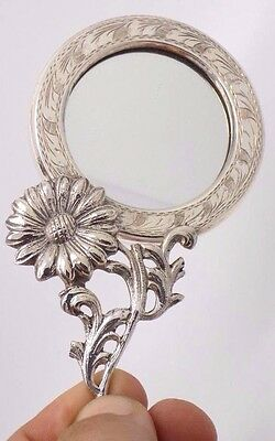 Vintage Solid Silver Flower Design Purse Hand Mirror - Stamped - Made in Italy