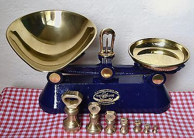"English Blue Cast Iron Kitchen Balance Scales ""the Viking"" 7 Brass Bell Weights"