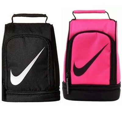 """Nwt Nike Contrast Dome Upright Insulated Tote Lunch Bag """"swoosh"""" Black / Pink"""