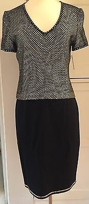 Vtg. St John Evening by Marie Gray Black And White Sparkly Top And Skirt Sz 2