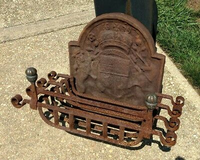 Antique Fireplace Fireback with Iron and Bronze Grate