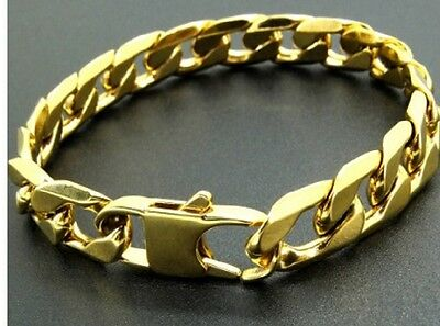 Thick Mens 20cm Stainless Steel Gold Curb Link Chain Bracelet 6mm 8mm 12mm C7-9