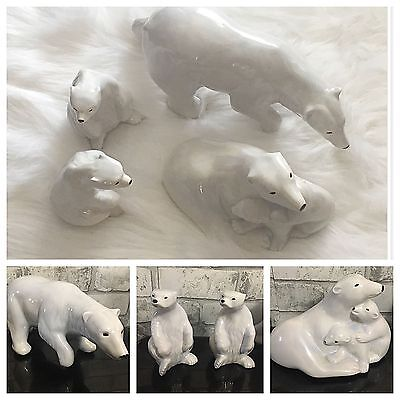 RARE Polar Bear Family Porcelain 4 x Figurines Father Mother & Cubs