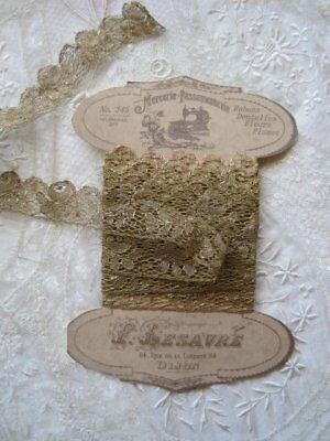 Antique French Gold  Lace, Ribbon Trim   3 Yards