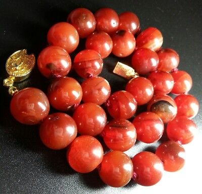 Vintage Chinese Genuine Red Carnelian Agate 12 mm Bead Hand Knotted Necklace