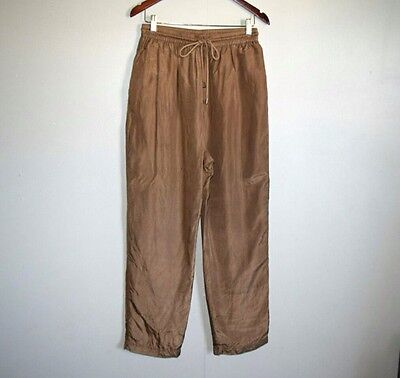 Vintage MURELI Brown Nylon Gym Track Windbreaker Pants Size Womens XL Drawstring