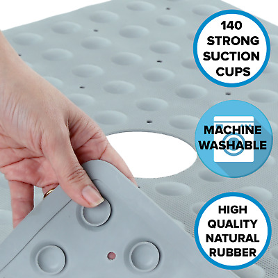 Gray Safety Shower Mat: In-Tub Mildew Resistant Suction Cup Rubber Shower Mat
