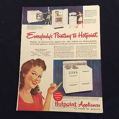 1947 Hotpoint Appliances Original Print Ad - A General Electric Affiliate