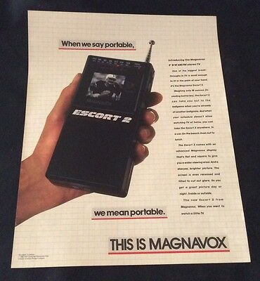 "1985 Magnavox Escort 2 - 2"" Black & White, Am / Fm Stereo Tv Print Ad"