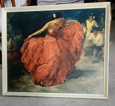 Vintage Retro Art Print in Original Frame 'The Red Skirt' by F R S Clemente