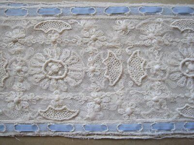 Antique Super Wide Embroiderd Ivory Net Lace Trim With Blue Insert   1 Yards 30""