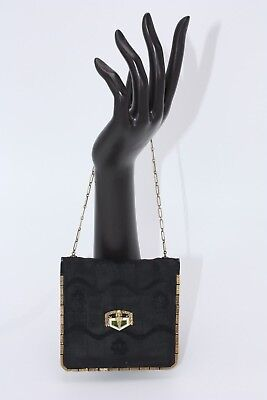 Egyptian Revival Antique Vtg 1930's Arts Crafts Black Silk Small Cosmetic  Purse