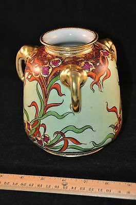"Antique Hand Painted Nippon Triple ""Elephant"" Handled Vase"