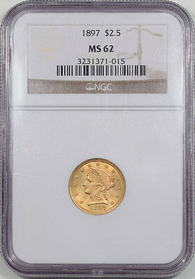 1897 $2.50 Liberty Head Gold Ngc Ms-62. Another Coin From The Reeded Edge!