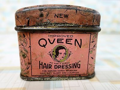 QUEEN HAIR DRESSING Pink Tin - Art Deco - with Contents