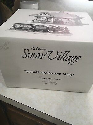 Dept 56  Snow Village- Village Station And Train. MISSING TRAIN, and LIGHT