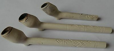 3 perfect clay pipes from the period 1620 / 1640 - Clay pipe Amsterdam.