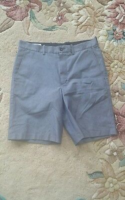 John W Nordstrom Blue Shorts Sz 33W Wrinkle Free Flat Front 100% Supima Cotton