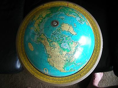 """Vtg Old School Globe with Stand Cram's 12"""" Physical Political Terrestrial Globe"""