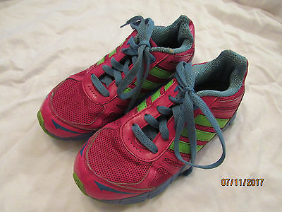 Adidas Ortholite Pink Blue Green Size 2 Girl Tennis Athletic Shoes