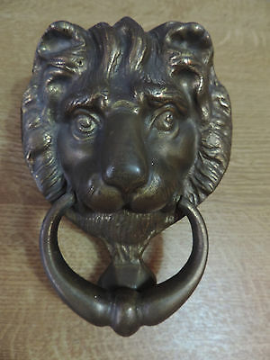 Vintage Reclaimed Solid brass Lions Head Door Knocker Over 40 Years Old