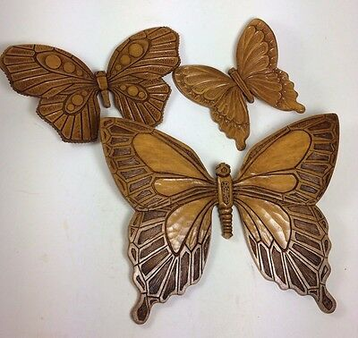 Syroco Butterfly Set 3 1968 USA Vintage Wood Look Brown Dart Indiana
