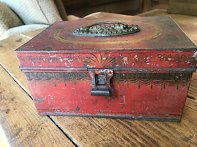 Early 19th C. Red Tole Decorated Document Box, Orig. brass handle, clasp