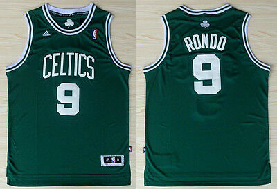New Men's Boston Celtics #9  Rajon Rondo  Basketball jersey  Green