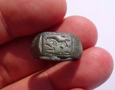 ancient Roman bronze carved ring, shows a zoomorphic animal