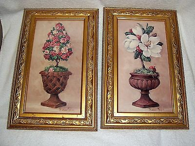 Topiary Shades of Pink Gold Framed HOMCO Picture Barbara Mock LOT OF 2