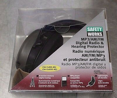 Safety Works Mp3/am/fm Digital Radio & Hearing Protector 10121816 New