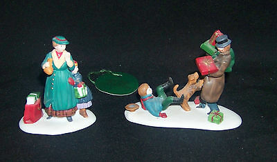Dept 56 Heritage Village Collection Don't Drop The Presents Set of 2 #5532-8