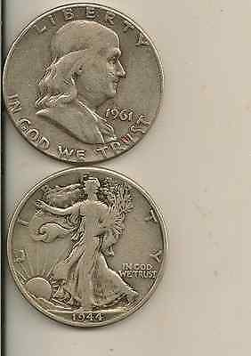 Walking Liberty and Franklin Half Dollar Lot, 90% Silver, 1 each, spendable $1