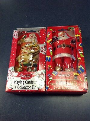 Lot of 2 Vintage Santa with Coca-Cola Playing Cards in Santa Tin 2 Decks in each