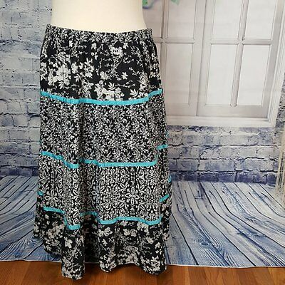 Notations Womens Skirt Plus 1X Black/White Floral Elastic Waist Crinkle Cotton